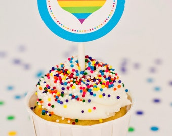 Rainbow Party Circles, Cupcake Toppers - Printable