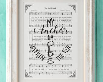 The Solid Rock - Hymn Print - Hymn Art - Hymnal Sheet - Home Decor - Music Sheet - Gift - Instant Download - Faith - Inspiration