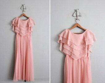 1970s vintage pale salmon chiffon party dress