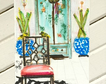 Chinoiserie Art, Painting, ORIGINAL PAINTING, Chinese Cabinet, Birds, Furniture, Pastel Colors, Faux Bamboo Chair, Bamboo, Interiors Sketch