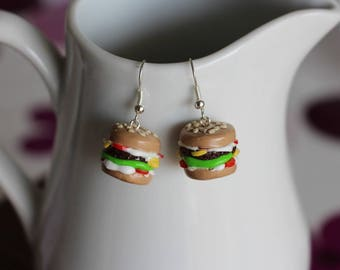 Hamburger steak and tomato earrings