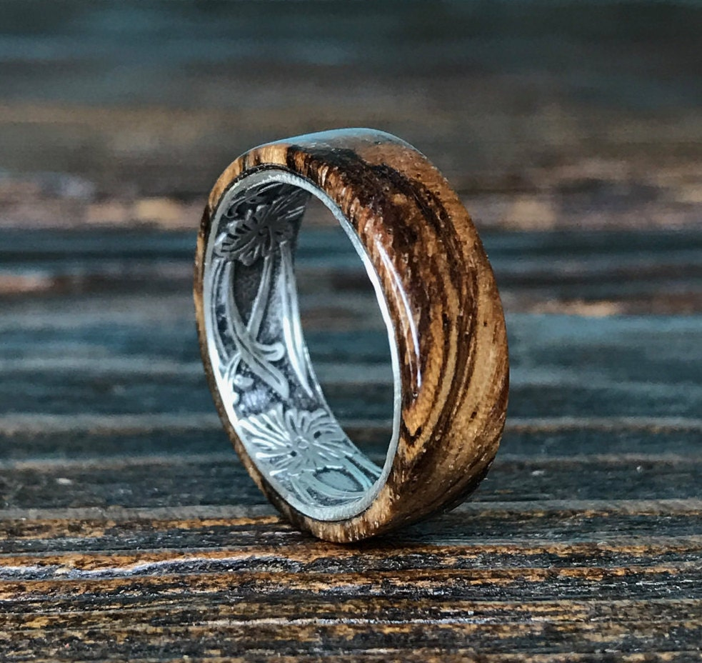 Silver Ring Sterling Silver Ring Wood Ring Wooden Ring
