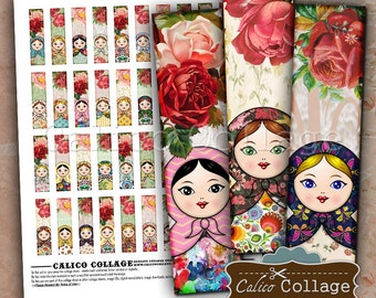 Nesting Doll Collage Sheet - Matchstick Images - .5x2 Collage Sheet - Decoupage Paper - Jewelry Pendant Images - Skinny Images - Printables