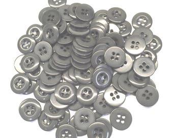 """Grey Urea Buttons, 24 Ligne, 5/8"""" (15 mm) - Pack of 100"""