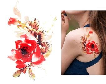 Vintage floral temporary tattoo - festival accessoire - festival temporary tattoo - boho temporary tattoo - bohemian temporary tattoo