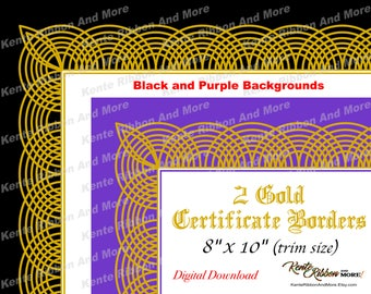Certificate border etsy diy 2 printable gold border certificate border templates in black and purple trim size 8x10 page 85x11 zip file download in jpg png yadclub Images