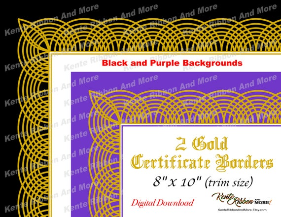 Diy 2 printable gold border certificate border templates in diy 2 printable gold border certificate border templates in black and purple trim size 8x10 page 85x11 zip file download in jpg png yelopaper Image collections