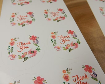 Thank You Floral Stickers, Bag Seals, Thank You Stickers, Floral Adhesives
