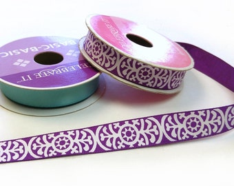 "Purple Star Motif - 5/8"" grosgrain ribbon - by the yard"