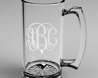 4 Personalized Groomsman Vine Monogram Beer Mugs Custom Engraved