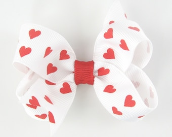 """Valentines Hair Bow, heart hair bow, red hearts girls hair bow, 3"""" 3 inch hair bow, baby hair bow, toddler valentines day cute b3-whtred-hrt"""