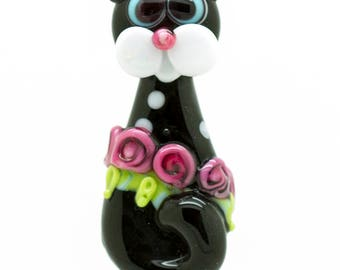 Made to order Margo lampwork beads cat