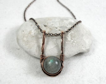 Labradorite Necklace, Aura Protection Stone, Hammered Copper Necklace, Sterling Silver, Boho Necklace, Third Eye Chakra, Gift for Her