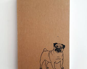 Pug Notebook: Small Ribbed Kraft Notepad with Pug Print. Perfect Small Gift Idea. Passport Sized, Plain Pages.
