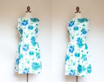 vintage early 1960s floral fit and flare dress / 60s blue white and green roses floral print tea dress / S