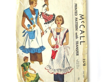 1950 Vintage Apron Pattern McCall 1578 / Novelty Flower Pot Pocket Pinafore Apron / Bib Apron with Embroidery Transfer / One Size