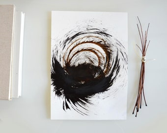 Original abstract art ink drawing -Black, brown and white,modern, minimal,ink dark, movement, art ink, brown,sepia, ink wash