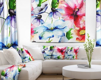 Designart Watercolor Flowers Everywhere Floral Wall Tapestry, Wall Art Fit for Wall Hanging, Dorm, Home Decor