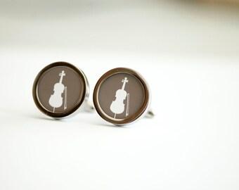 Cello on cufflinks - Musicial cufflinks, Men's Cufflinks,  Husband, Wedding gift, Novelty cufflinks for him