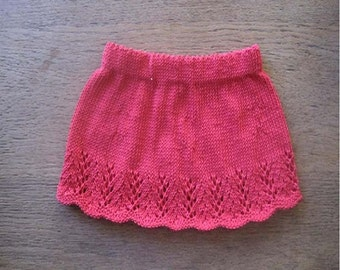 Girl's Skirt Knitting Pattern - Instant Download PDF  -  6 sizes - from Newborn - 5 years