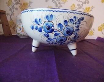 French Handmade Tri-pod Ceramic Colander
