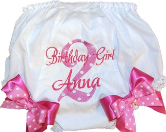 Personalized 2nd Birthday Baby Girl Diaper Cover Bloomers Pink & White Double Bows