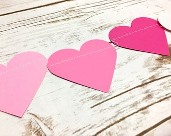 Shades of Pink Garland, Pink Hearts Garland, Hearts Banner, Valentine's Day Garland, Baby Shower, Birthday Decor, Bridal Shower, Photo Prop