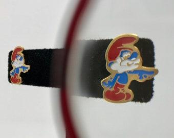 1980's Vintage Enamel Papa Smurf Stud Earrings