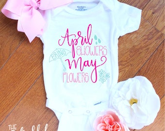 April Showers Bring May Flowers svg | girl svg files | april showers svg | april baby svg | spring svg files | May svg files