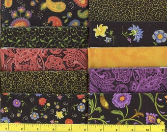 """Midnight Bloom Jelly Roll 40 - 2.5"""" Strips Quilting Fabric #b17"""