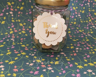 Gold Foiled Scallop Round Thank You Tags (pk 20)