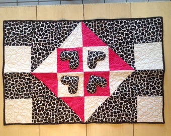 Heart Quilted wall hanging table runner