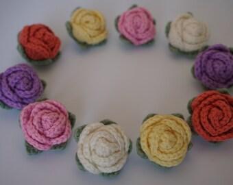 10 pcs Small Rose Handmade Crochet Flower 3.5 cm.