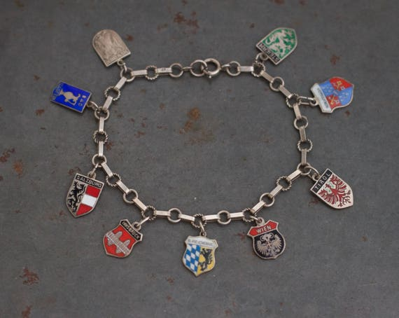 Travel Shields Bracelet - 800 German Silver and Enamel Charms on Chain - Souvenir from Austria and Germany
