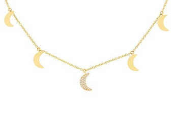 Gorgeous Stunning Certified Yellow Gold Crescent Moon Pendant,  0.06CT 14K Yellow Gold Diamond Crescent Moon Necklace