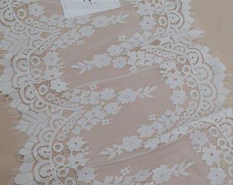 Ivory Lace Trim, French Lace, Chantilly Lace, Bridal Gown lace, Wedding Lace, White Lace, Veil lace, Garter lace, Lingerie Lace EVSL146