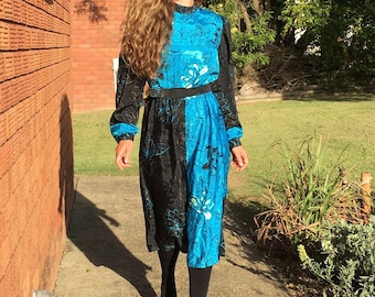 City Chic, Young Edwardian, Silky Belted Midi Dress, Aqua Blue and Black, Flower Print, Pleats, High Neckline, Size S Small