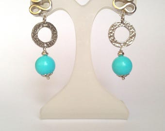 Silver 925 and turquoise earrings, 925 silver earrings, handmade, Italy made, rhodium plated