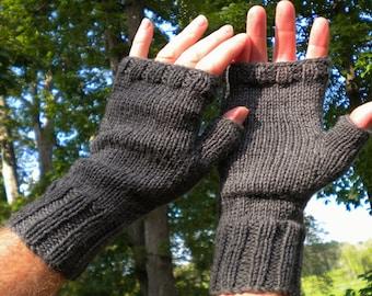 Fingerless Gloves Men's Hand Knit Dark Gray Washable Merino Wool Fingerless Gloves Hand Warmers Men's Hand Knit Dark Gray Merino Wool Gloves