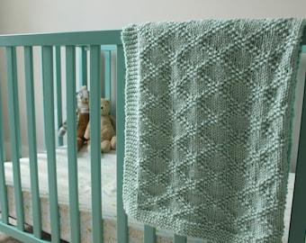 PDF Knitting Pattern, Simple baby blanket, beginner knitting baby blanket, classic baby blanket, chunky baby blanket pattern, modern blanket