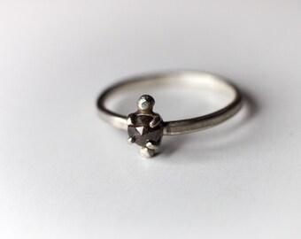 Diamond Pebble Ring - Rose Cut Diamond - Sterling Silver