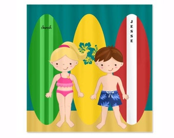 Vintage Surfboards with Boy and Girl - Personalized Kids Shower Curtain, Custom Shower Curtain