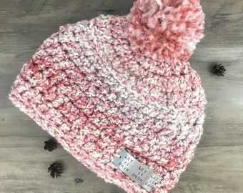"""Quote """" Let it Snow, Let it Snow, Let it Snow""""/ Hygge Hatte Candy Cane Color Beanie Hat with Pom Pom/ Hand Stamped/ Personalize"""