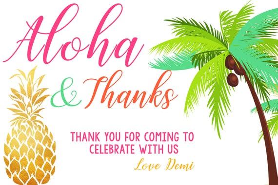 Ideal Pineapple Aloha Thank You Card LUAU Thank You Card Luau RV33