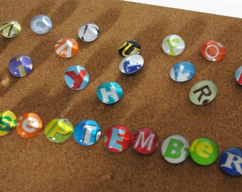 SMALL magnet or push pin LETTERS- made from recycled magazines, 2018 perpetual calendar, letters, push pins, alphabet, monthly letters, fun