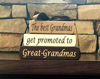"""Grandma/mothers day """"MINI""""stacker blocks--The best Grandmas get promoted to Great-Grandmas-Mother's day gift"""
