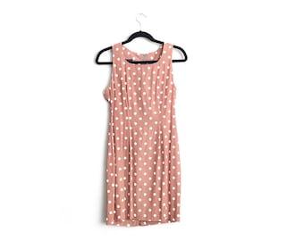 20 DOLLAR SALE! // Size M // POLKA Dot Dress // Light Coffee Brown - Sleeveless - Fitted - Mini Dress - Vintage '80s.