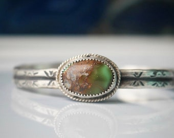 Handcrafted Royston turquoise cuff, handstamped bracelet, sterling silver