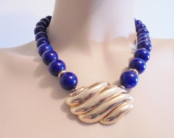 Vintage Signed AVON Pendant Necklace / Collar Blue Lucite Beads Gold Plated Tone Chunky Retro Art Deco Statement Runway