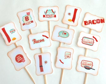 Bacon Lover - Cupcake Toppers/Party Sticks, Brunch, Father's Day, Crossfit, Eat More Bacon, Mustache, Heart, Paleo, Bacon and Eggs, Food